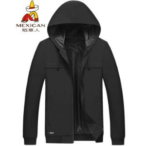 稻草人(MEXICAN) 夹克男 连帽茄克韩版修身风衣外套男装 18030DC80 黑色 XL *3件218.8元(合72.93元/件)