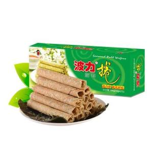波力海苔 波力卷 海苔味蛋卷 休闲零食108克  早点  饼干9.9元