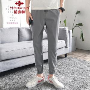 俞兆林男士休闲裤时尚条纹百搭九分束脚裤908浅灰色XL55.3元