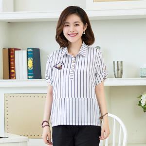 俞兆林 翻领条纹短袖T恤衬衫领上衣 YWTD182101黑条纹XXXL49元
