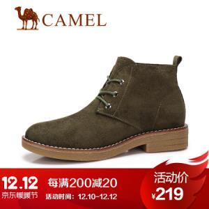 骆驼 女士 英伦风百搭低跟系带马丁靴 A84568608 绿色 35199元