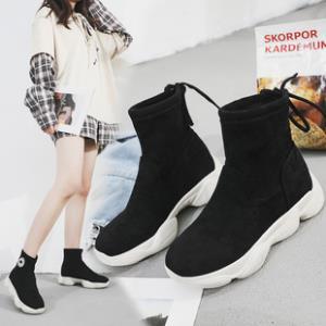 马丁靴女短靴休闲高帮鞋加绒厚低女靴 券后¥89