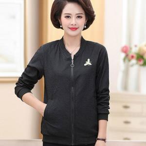 俞兆林  2018秋季新款中老年女装长袖薄款夹克气质外套女YWWT188276 黑色 XXL89.5元