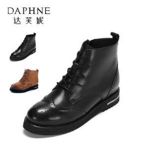 Daphne/达芙妮 英伦布洛克平跟系带马丁靴57.9元