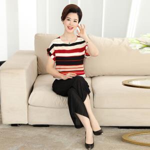 俞兆林 中老年女装条纹T恤套装时尚上衣裤子40-50两件妈妈装 YWTZ181120红色XL48.5元