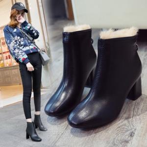 粗跟短靴女加绒马丁靴百搭高跟靴 券后¥99