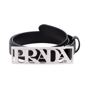 PRADA 普拉达 黑色牛皮PRADA字样针扣腰带1656.5元