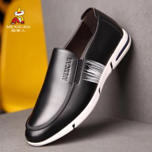 稻草人休闲男士皮板鞋韩版潮流平底靴子 BT912 黑色 4484.5元