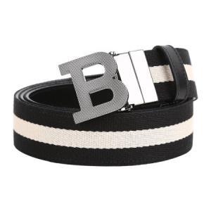 BALLY 巴利 男士帆布拼皮质黑白拼色腰带 B BUCKLE 35 MT 960 1051062元