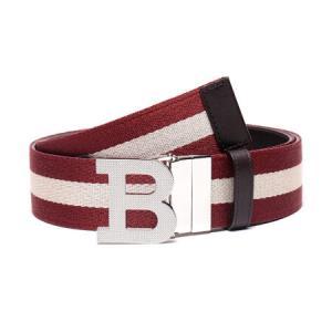 BALLY 巴利 男士红色米色条纹织物配皮板扣双面皮带腰带 B BUCKLE 40 M TT 5 110cm999元