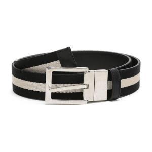 BALLY 巴利 男士黑色米色条纹织物配皮针扣双面皮带腰带 TONNI 35 TL 600 100cm999元