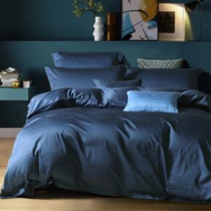 水星家纺 床上四件套纯棉 60S长绒棉贡缎床单被罩被套  醉出色(蓝色) 加大双人1.8米床449元