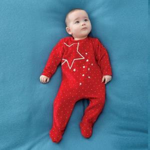 Z-PARIS 法国进口 秋冬星星夜光宝宝长袖连体衣 1-18个月  红 *3件119元(合39.67元/件)