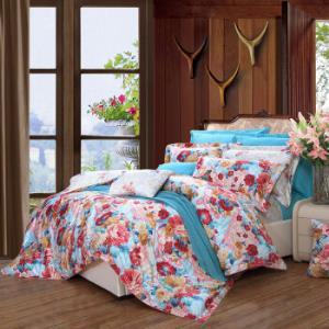 富安娜(FUANNA)家纺 高档贡缎纯棉80s皮马棉四件套双人床品套件床单被套 海兰之谜 1.8米(230*229cm) 蓝色879元