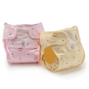 欧育婴儿防水尿布裤 新生儿全棉可洗防漏尿布兜2条装 黄+粉XL码 23.33元