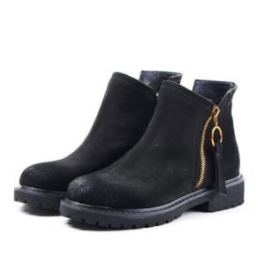 卡帝乐鳄鱼 CARTELO 反绒面猪皮革平底时尚户外出行休闲鞋女短靴 KDL182-7 黑色 36168元