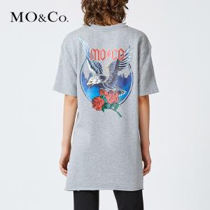 MOCO中长款纯棉个性宽松短袖t恤MA173TEE218 摩安珂 329元