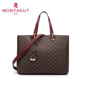 梦特娇 MONTAGUT女包时尚手提包大容量斜挎包印花托特包R2412562421啡色419.44元