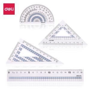 得力(deli)学生直尺三角尺量角器绘图组合套尺4件套 颜色随机71968 *35件71.5元(合2.04元/件)