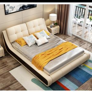 酣美 床 皮床 卧室双人床 软体床 北欧风格 真皮床 皮艺床 皮质床软床1.5米1.8米软包双人床 1799元