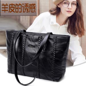 2018新款羊皮女包软皮编织时尚手提包大容量韩版拼接气质单肩包包  券后59元