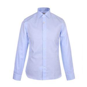 CANALI 康纳利 男士浅蓝色棉质方格长袖衬衫 X18 GD01331 402 40码1919元