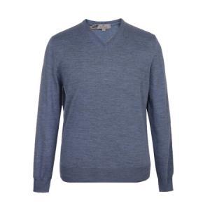 CANALI 康纳利 男士蓝灰色羊毛V领长袖针织衫 C0029 MK00077 406 46码2015.2元