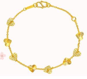 CHOW TAI FOOK 周大福 F159053 爱心黄金手链 约3.7g