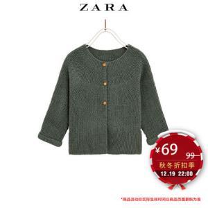 ZARA 冬装 新款 女婴幼童 孔眼针织基本款外套
