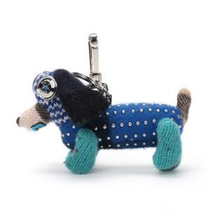 BURBERRY 巴宝莉 女款水鸭蓝多色拼色织物Tilly腊肠犬造型钥匙扣吊饰 80004401