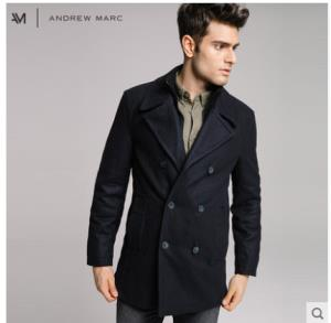 ANDREW MARC MM7AW315NY 男士羊毛呢海军大衣 299元