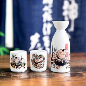 美浓烧 陶瓷酒具 日本进口温酒壶暖酒壶酒杯 礼盒套装 相扑 *3件361.6元(合120.53元/件)