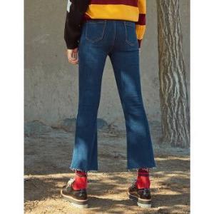 以纯线上品牌A21 2018新品高腰喇叭牛仔裤女 宽松时尚破洞九分裤 *3件178元(合59.33元/件)