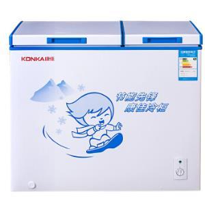 康佳288升 双温家用商用大冰柜 冷藏冷冻顶开门冰箱 双门卧式冷柜BCD-288DZP1199元