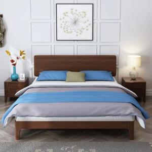 贵人家源 北欧实木床现代简约双人床单人床储物床气压床高箱床日式卧室实木家具(1.5m胡桃色 床)1299元