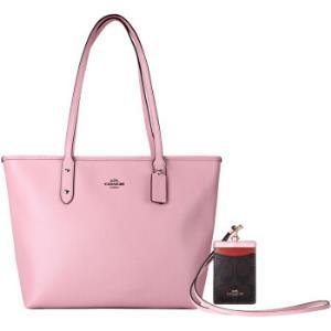 COACH 蔻驰 奢侈品 女士粉色皮质手提单肩托特包+卡套 套装  F58846 SVEZM+F57964 IMN2Q910元