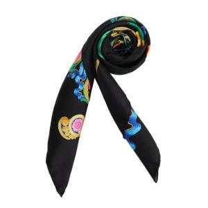 VERSACE 范思哲 奢侈品 春夏款 女士黑色丝质印花方形围巾丝巾 IFO9001 IT01950 I79101372元