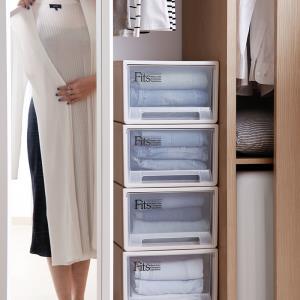 日本天马Tenma进口 抽屉式收纳箱塑料衣柜透明储物箱收纳盒
