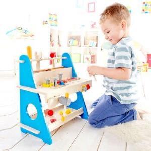 14号0点:Hape益智玩具 小工作台套装 木制拼插建筑工具盒 218元268元(需用券)