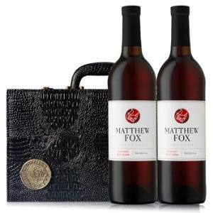 加州马修狐赤霞珠红葡萄酒 黑色双支精品皮盒装 750ml*2瓶 礼盒装 *3件197元(合65.67元/件)