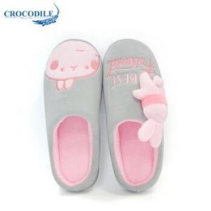 鳄鱼恤(CROCODILE) 兔兔女家居防滑木地板舒适保暖短毛绒室内半包跟棉拖鞋女款 CRO1771 浅灰色 39-4013.04元