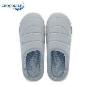 鳄鱼恤(CROCODILE)男女款条纹居家室内防滑木地板情侣保暖短毛绒半包跟棉拖鞋女款 CRO1705 浅灰 36-379.56元