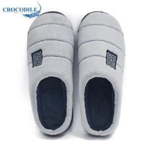 鳄鱼恤(CROCODILE)条纹款男家居防滑木地板室内保暖短毛绒软底半包跟棉拖鞋男款 CRO1751 宝蓝色 41-429.84元