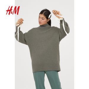 H&M HM0655434 女装毛衣女 宽松高领针织衫套头上衣 2018秋季新款 200元