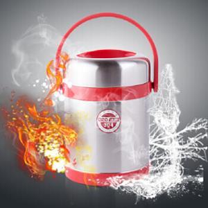 庆展 304不锈钢大容量保温提锅学生儿童保温饭盒2.2L保温桶 厨之传说系列 PQ22-6MX *2件+凑单品100.8元(合50.4元/件)