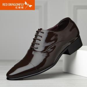 红蜻蜓真皮男鞋 新款正品男士商务正装鞋时尚漆皮系带男单鞋¥179