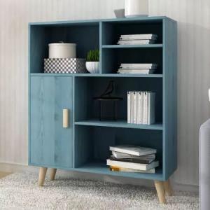 木以成居 书柜书架带门 实木色储物收纳柜 三层六格复古蓝色LY-4089129元