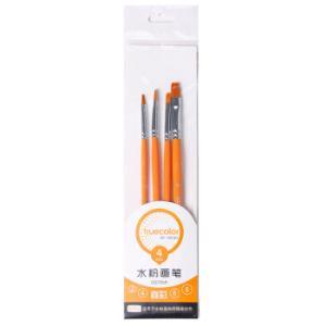真彩(TRUECOLOR)水粉笔水彩笔油画笔美术绘画笔 学生美术专用多规格 橙色笔杆 4支/袋 OG726A *2件12元(合6元/件)