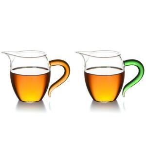 艾芳贝儿茶具高硼硅耐热玻璃公杯 公道杯 匀杯 分茶器 茶海 橙绿两只装企鹅公杯49元