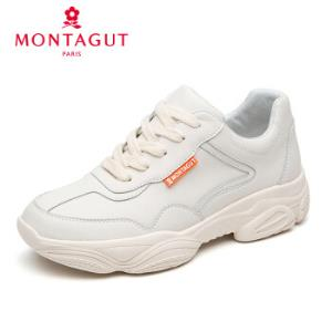 法国Montagut/梦特娇甄选牛皮定制舒适百搭休闲鞋米白色198元